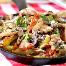 Mushrooms Pepperoni Bell Peppers in Pan