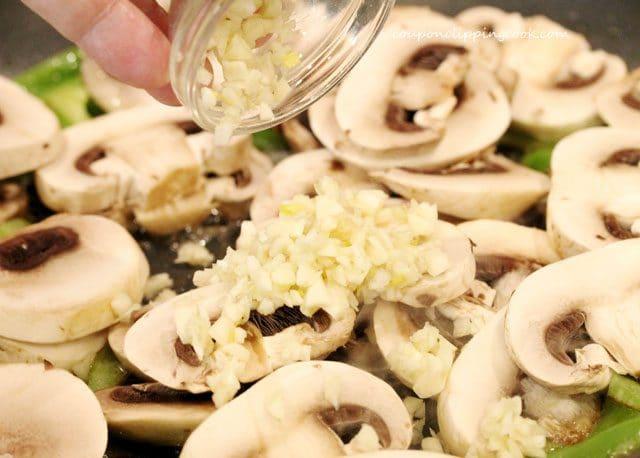 garlic mushrooms in pan