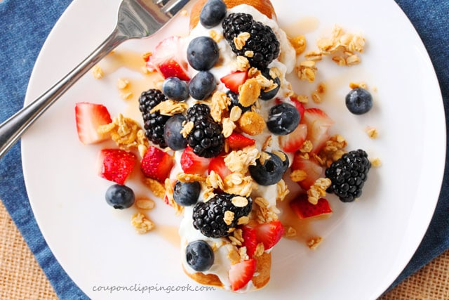 Yogurt Berry Pancake Rolls on plate