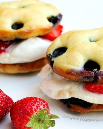 Blueberry Pancake Whoopie Pies with Ricotta Cream Cheese Frosting