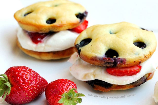 Blueberry Pancake Whoopie Pies on plate