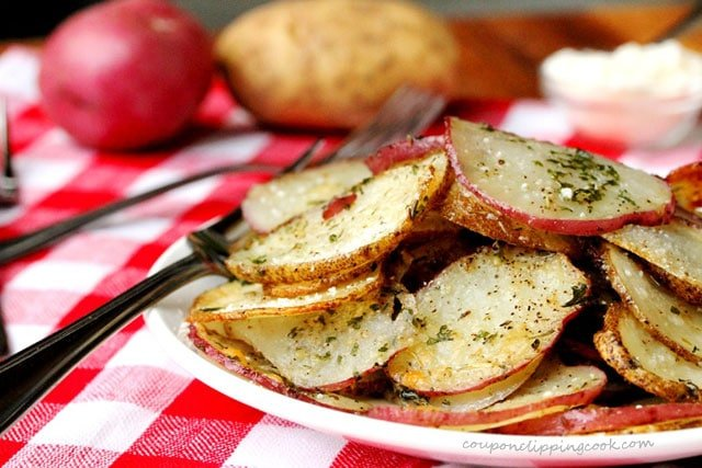 Baked Herb and Parmesan Potato Slices on plate
