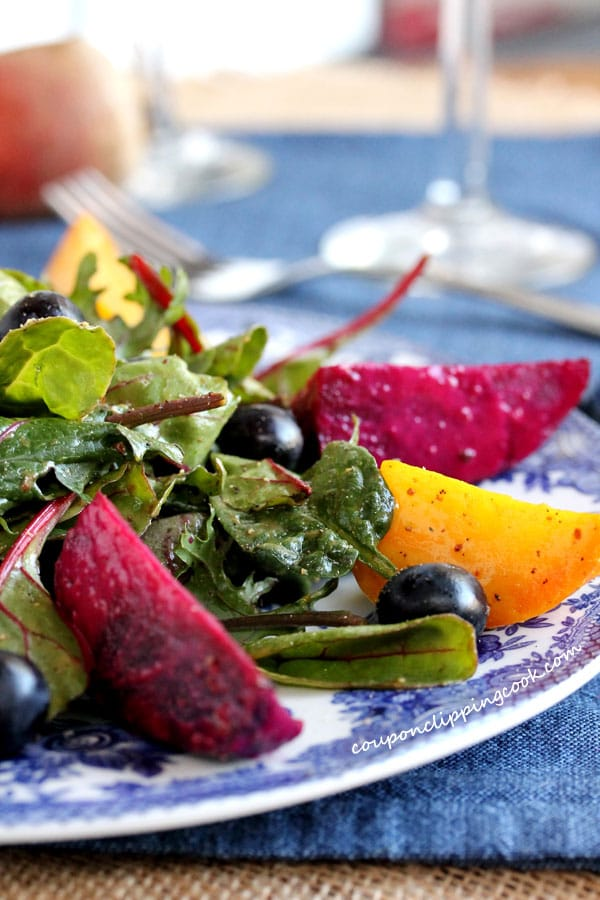 Roasted Beet and Blueberry Salad on plate