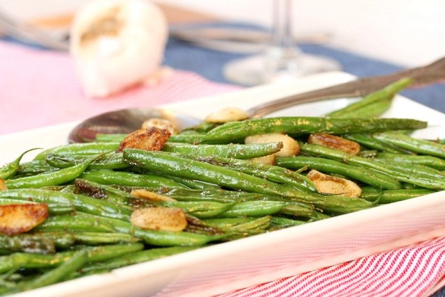 Garlic Wasabi and Sage Green Beans on plate