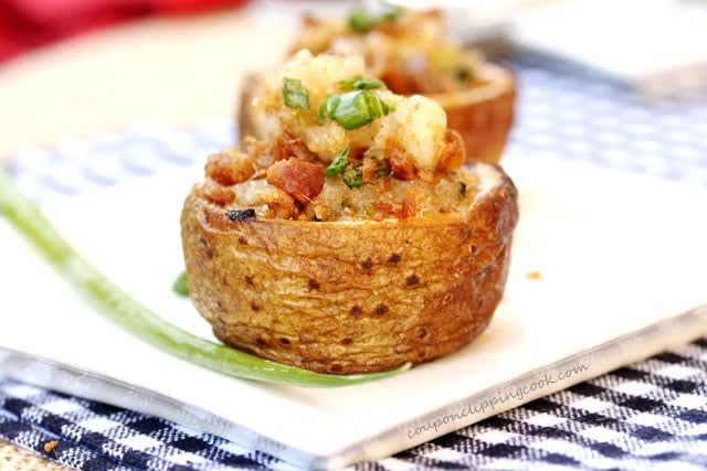 Twice-Baked Browned Butter and Bacon Potato Bites on plate