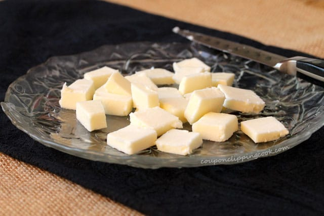 Cubes of butter on plate