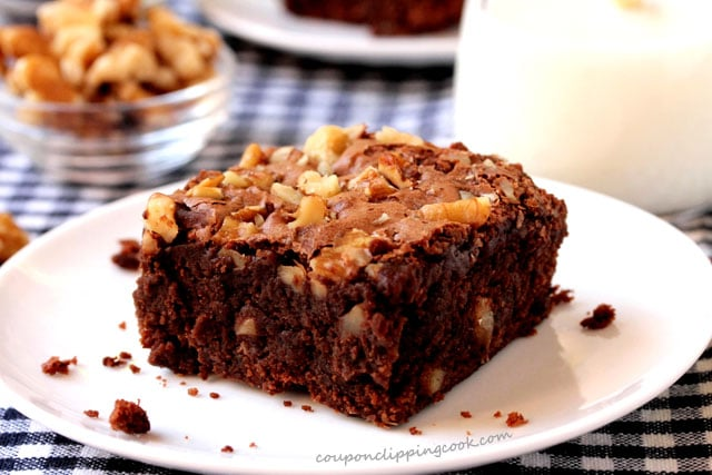 Chocolate Brownies with Walnuts on plate