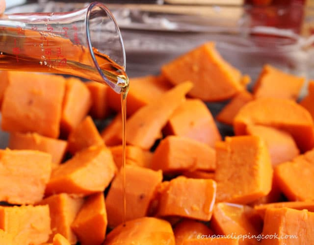 Add maple syrup on yams