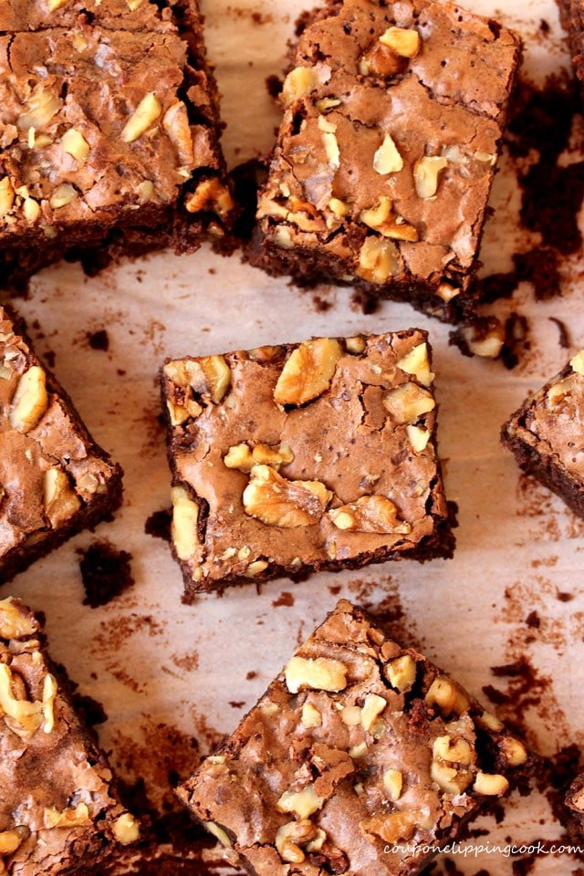 Chocolate Brownies with Walnuts on pan