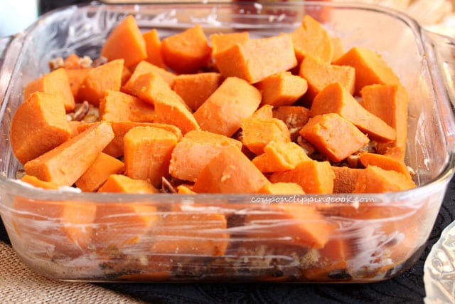 Layer of cut yams in dish