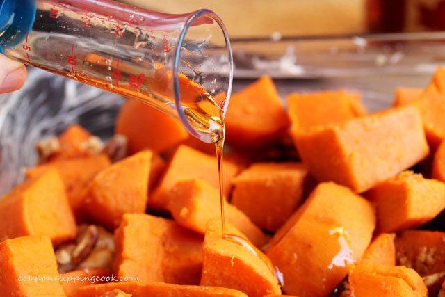 Add syrup on cut yams