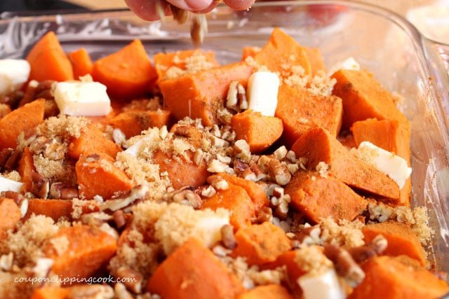 Add pecans on cut yams
