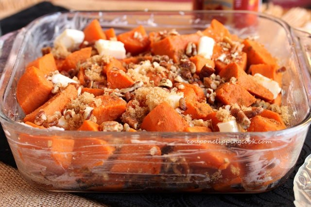 Candied yams ingredients in dish
