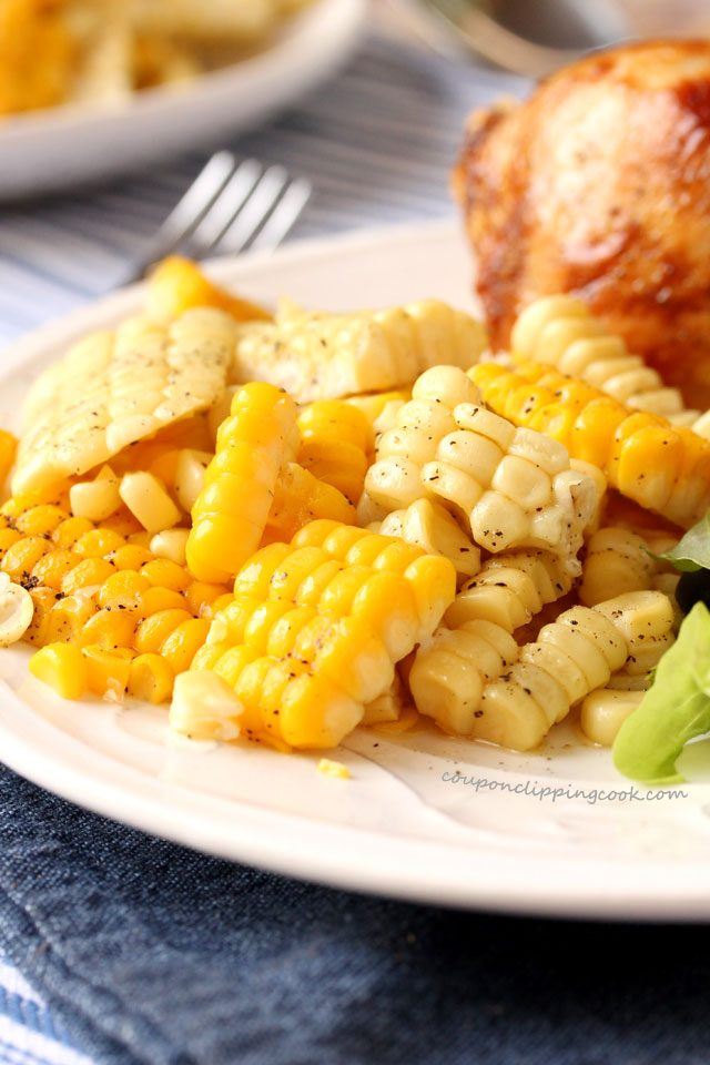 Corn off the cob on plate