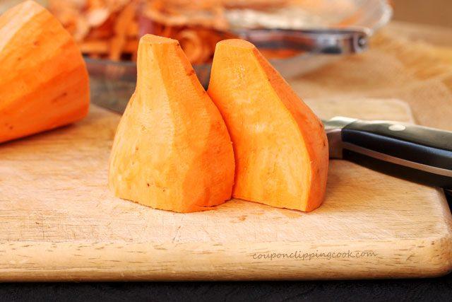 Peeled yam cut in quarters
