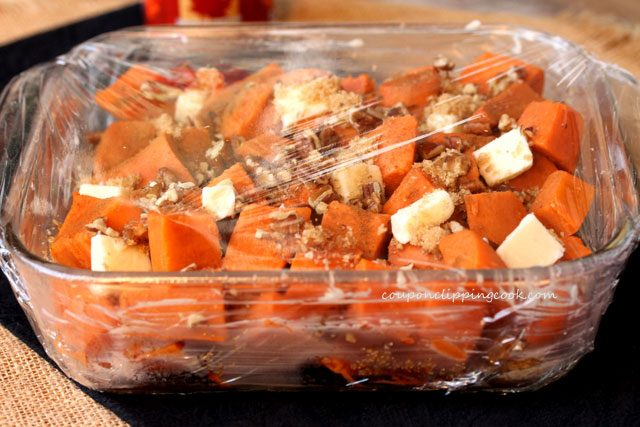 Candied yams in cellophane