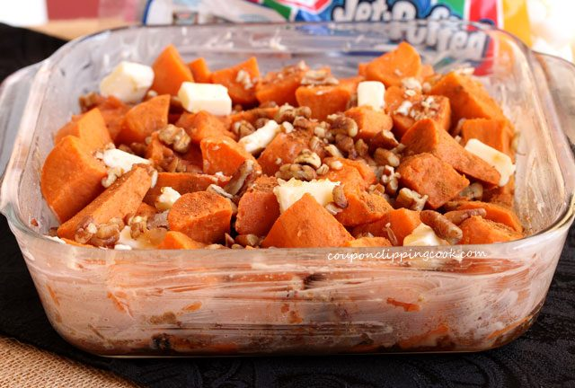 Candied yams in baking dish