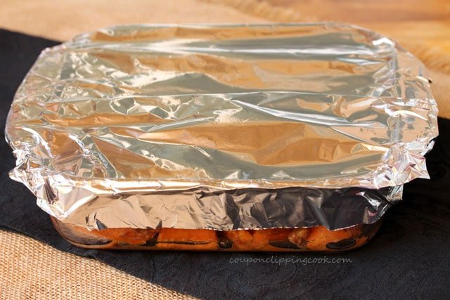 Wrap candied yams in foil