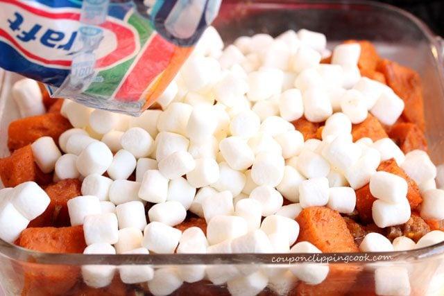 Add marshmallows on yams