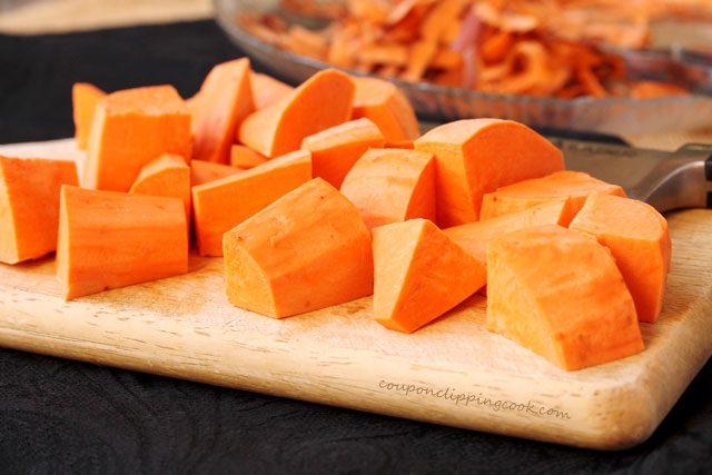 Cut yam in chunks