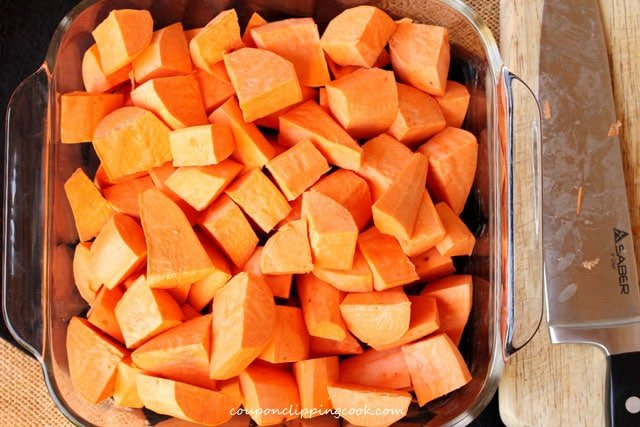 Cut yams in baking dish