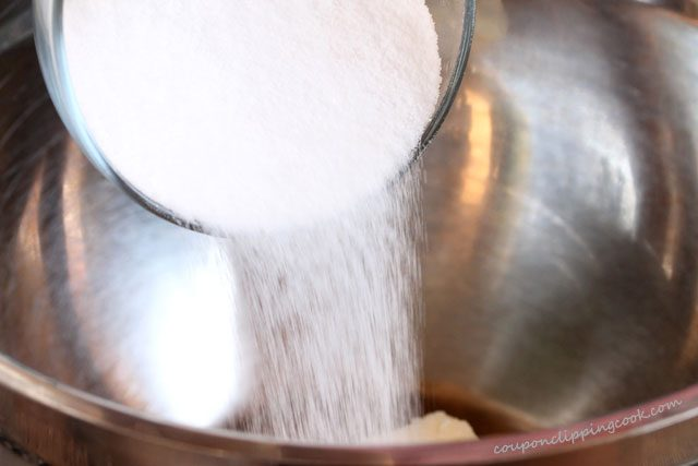 Adding Sugar to Mixing Bowl
