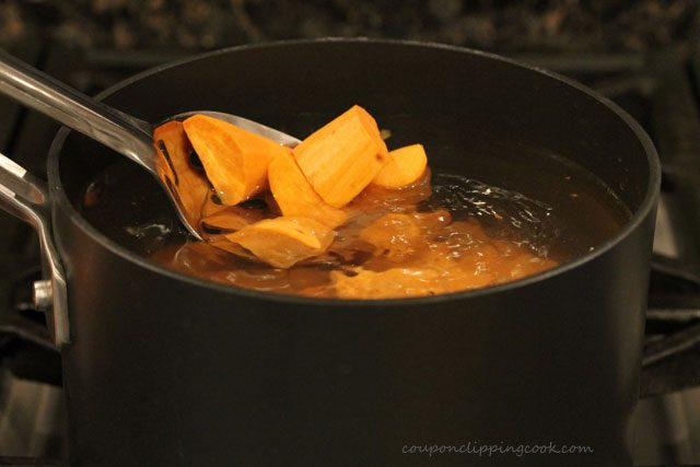 Adding yams in pan