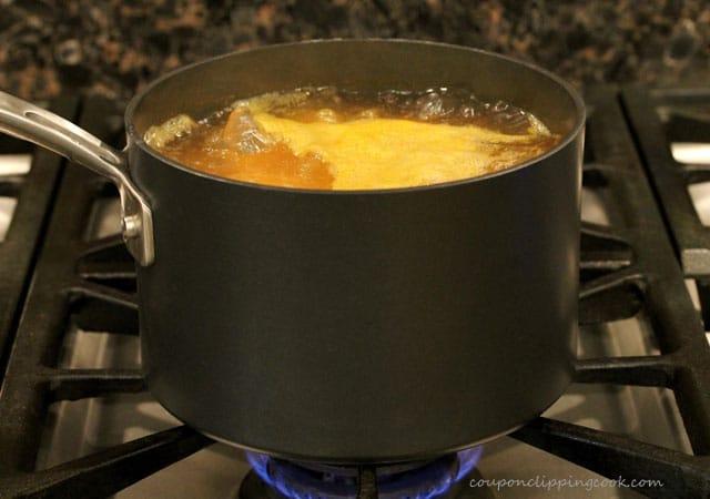 Cut yams in boiling water