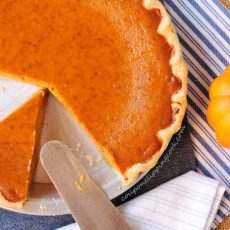 Cut piece of pumpkin pie