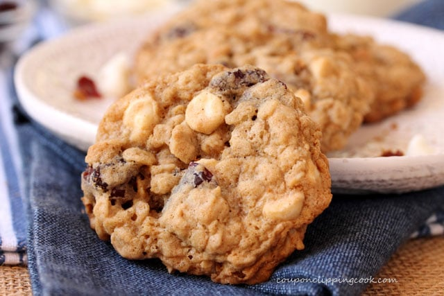Cherry White Chocolate Oatmeal Cookies on plate