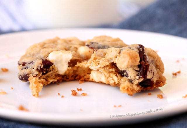Bite of tart cherry oatmeal cookie