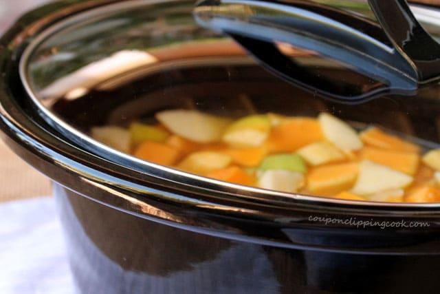 Lid on crockpot with soup