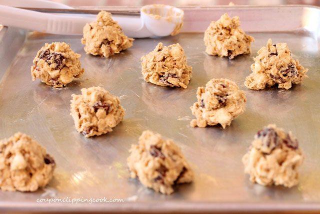 Cookie dough balls on pan