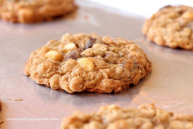 Baked oatmeal cookies on pan