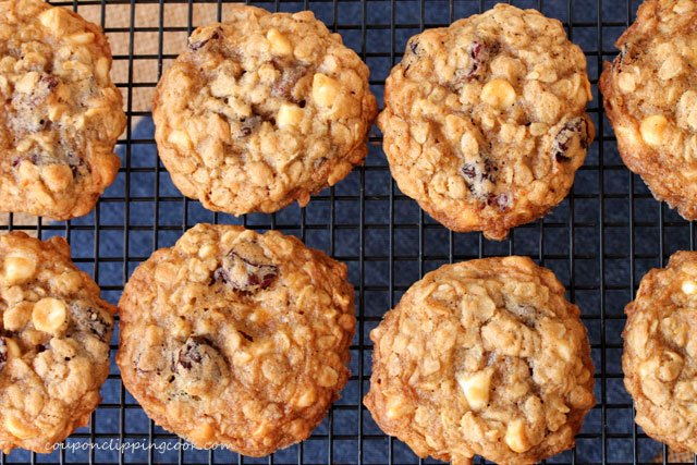 Cherry White Chocolate Oatmeal Cookies on rack