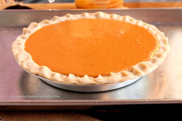 Pumpkin pie filling in pie pan