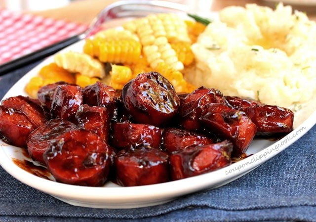 Smoked Sausage with BBQ Sauce on plate