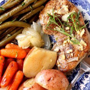 Pork chops potatoes vegetables