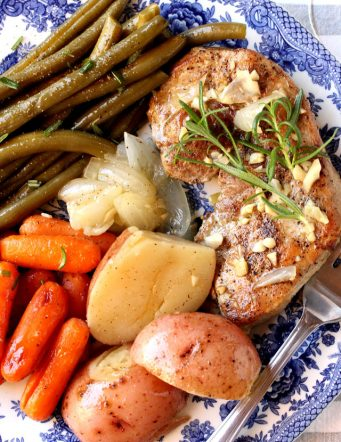 Roaster Pan Pork Chop Dinner with Potatoes and Vegetables