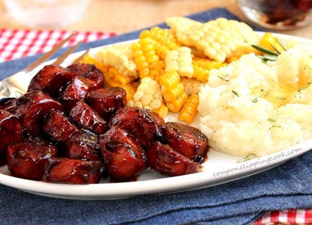 BBQ Smoked Sausage Meal on plate