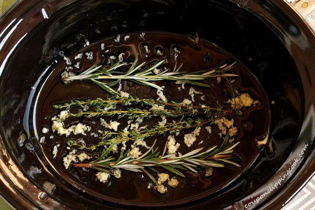 Herbs and Garlic in Slow Cooker pot