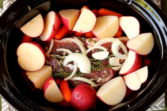 Potatoes and Roast Beef in Pot