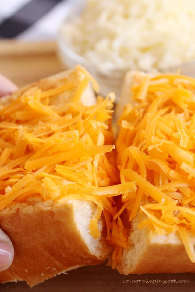 Shredded cheese on bread