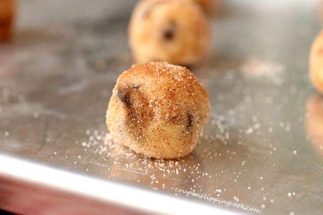 Cookie dough balls on pan