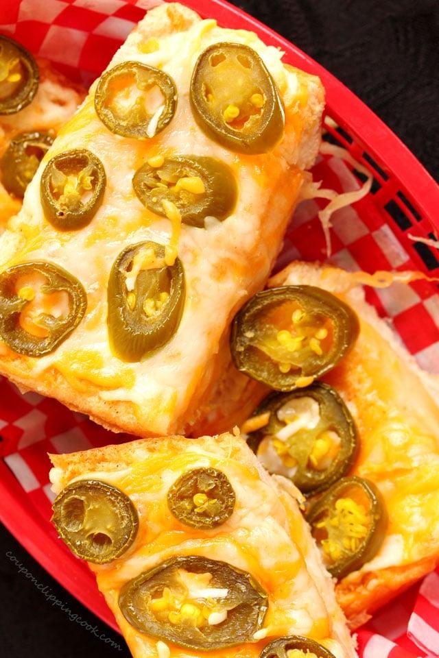 Cheesy Jalapeno Garlic Bread in basket