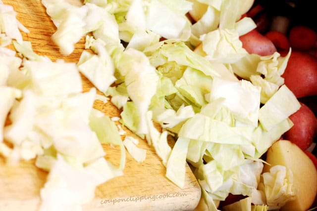 Chopped cabbage on board