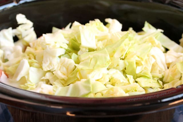 Chopped cabbage in pot