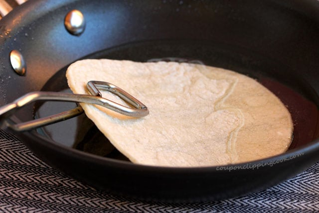 Tortilla in pan with oil