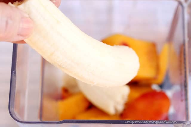Add banana in blender pitcher