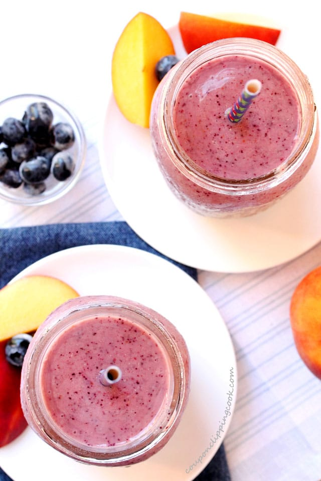 Peach, Blueberry and Banana Smoothies in glasses